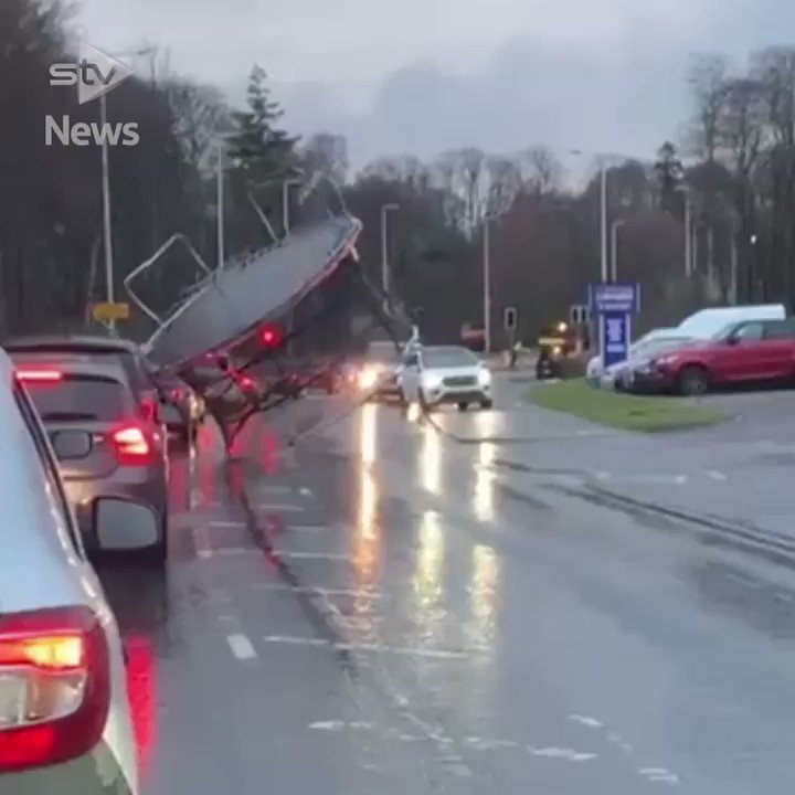 Oh my god....trampoline: A driver in Inverness captured a trampoline flying down Culloden Road during heavy winds.