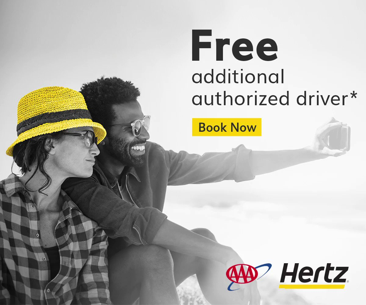 Travel more and get more, such as free* Additional Driver with #AAADiscounts and Hertz. Book now with CDP: 80  . 💛🚙  * Additional driver must be a AAA member, have a credit card in their own name and meet standard rental qualifications. Terms apply.
