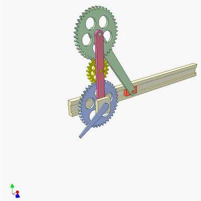 Three-Gear-Slider-Crank Mechanism
