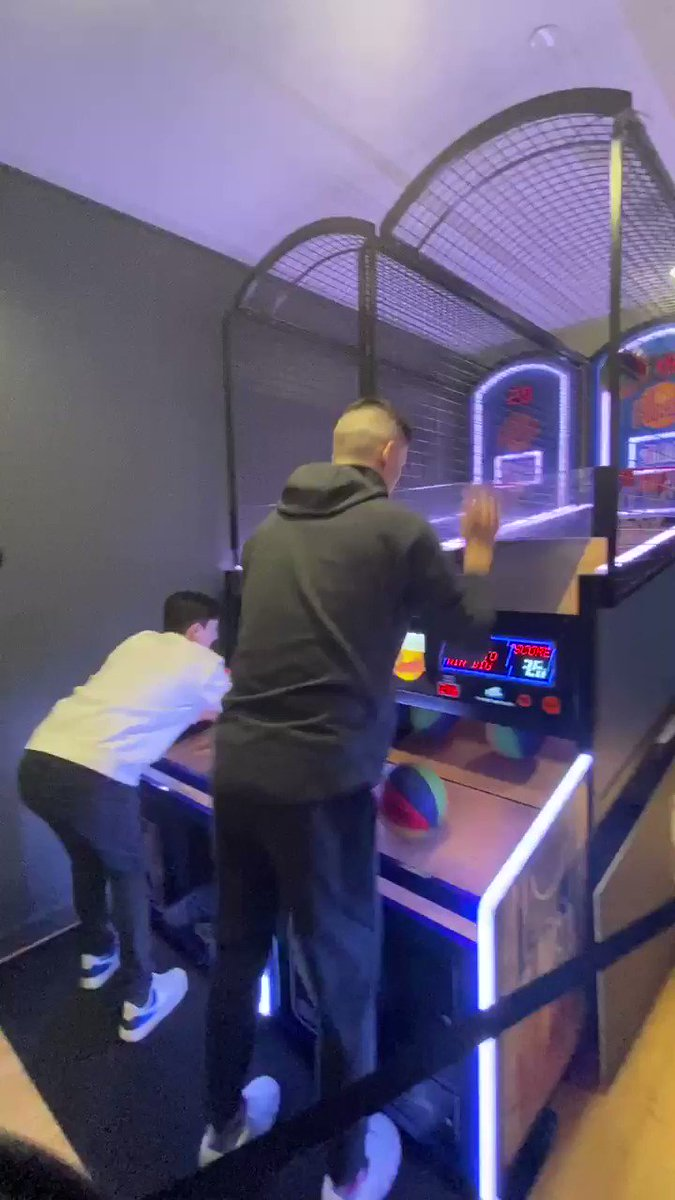 .@raf_tyler going head to head with fans in pop-a-shot!