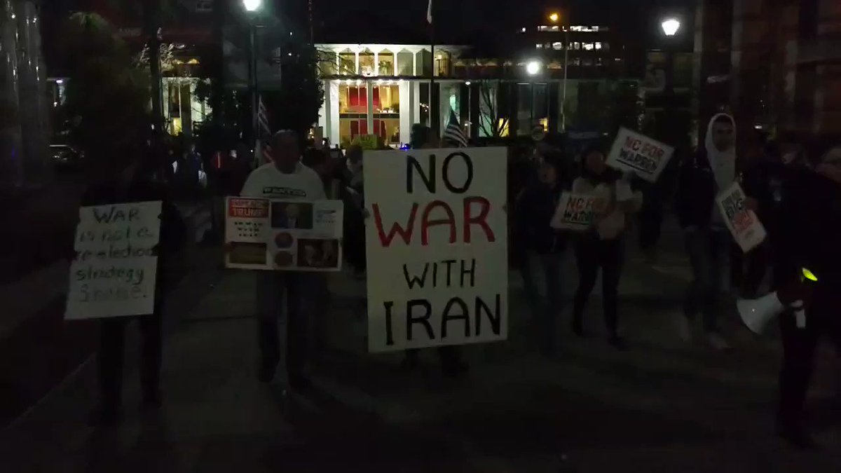 No War With Iran Protest Raleigh, North Carolina #NoWarWithlran #DemCast #DemCastNC