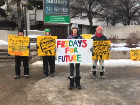Staying warm in Northern Ontario. I choreographed a little dance to do with our signs. It was funny and silly. #danceforclimate #FridaysForFuture