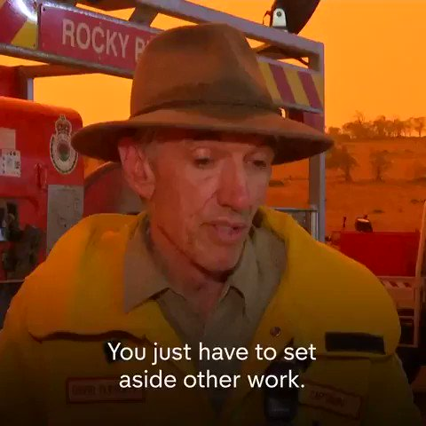 """""""Australia, with a three degree temperature rise, frightens the hell out of me.""""The captain of a fire service in rural New South Wales says that the evidence it is due to climate change """"is overwhelming""""No planet B. #ActOnClimate #AustraliaFires"""
