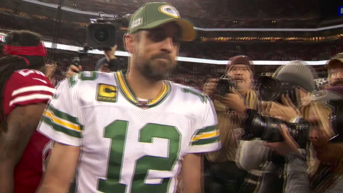 """After the 49ers beat the Packers in November, Aaron Rodgers told Jimmy G, """"We'll see you later on.""""   Today, they face off for the NFC Championship 🍿  (via @KPIXtv)"""