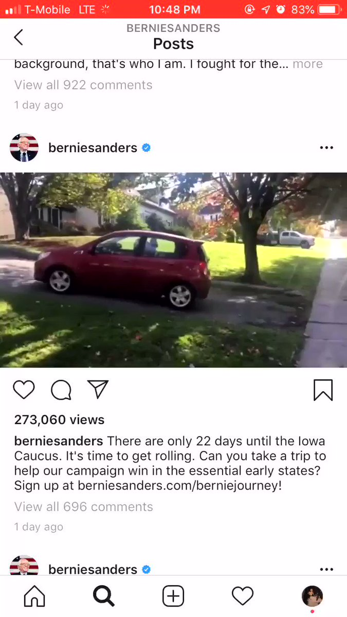 why is there a video on bernie's instagram of him doing a really bad job pulling out of a driveway