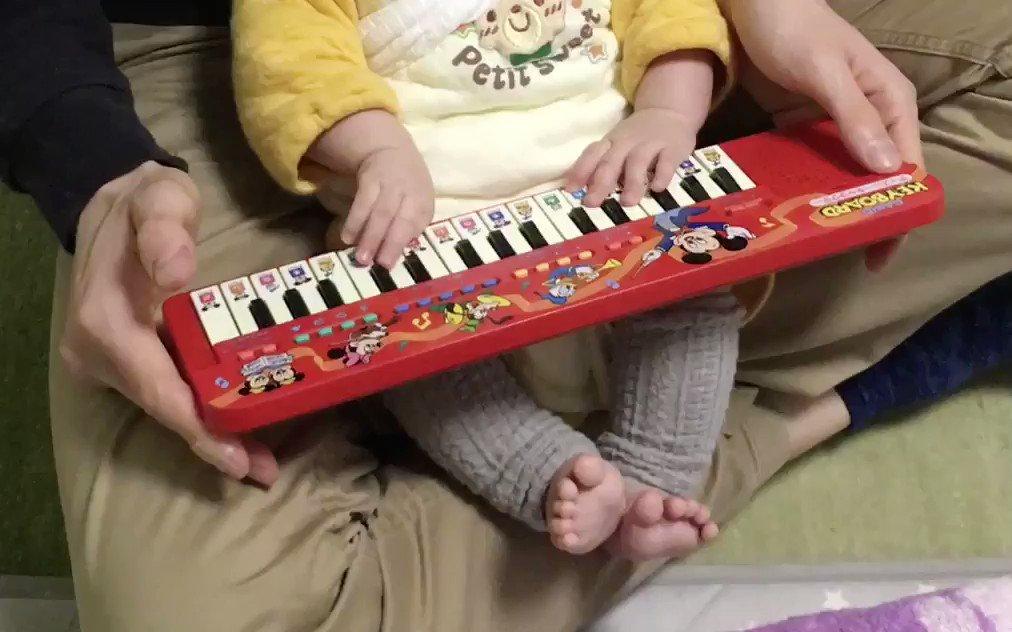 0歳の息子が何気なく渡した古いキーボードでBarで流れそうな曲を弾いていた。