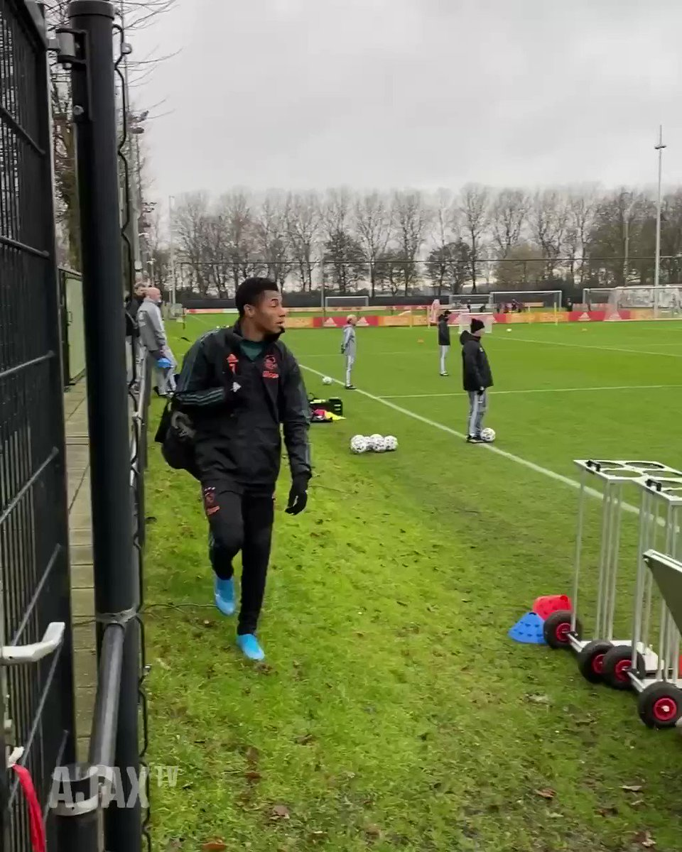 Ajax's David Neres may have spent the morning at a café or two before training by the looks of things...