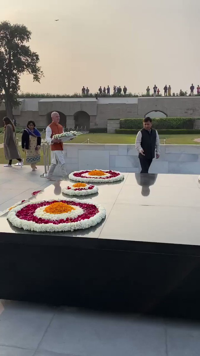 """Just landed in India and spent a beautiful afternoon paying my respects to someone who truly changed the world. """"Live as if you were to die tomorrow. Learn as if you were to live forever."""" - Mahatma Gandhi."""