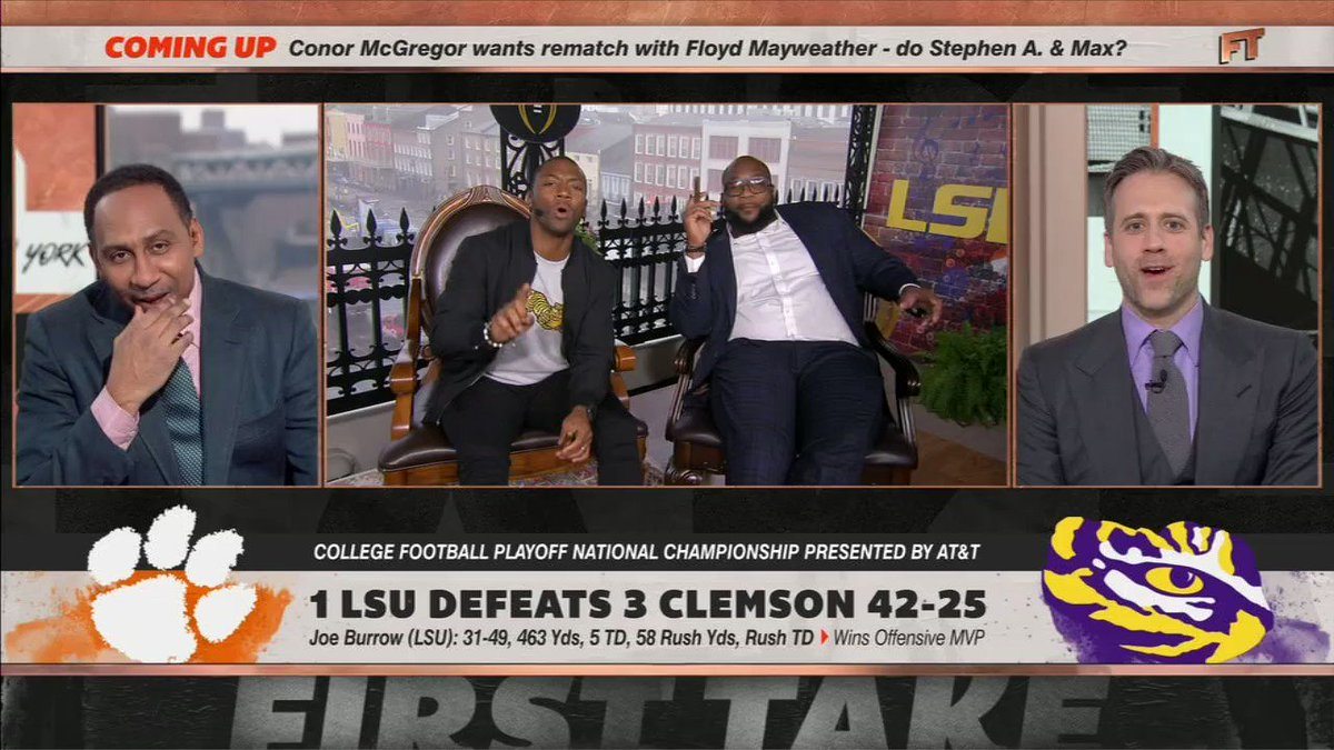 Stephen A. Smith Reacts To LSU's Win vs. Clemson