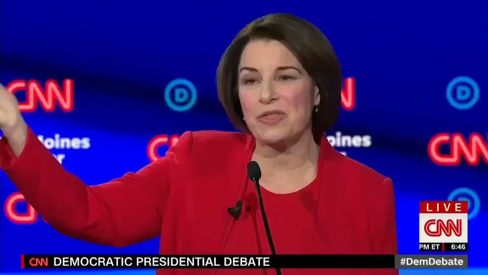 .@amyklobuchar: Every single person that I have beaten, my Republican opponents, have gotten out of politics for good. I think that sounds pretty good with the guy we have in the White House right now #DemDebate WATCH HERE! ⬇️⬇️⬇️⬇️⬇️⬇️⬇️