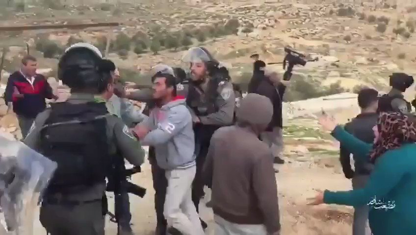 """Watch 👀Israeli ethnic warcrimes in practice Zionist """"soldiers"""" assault & abduct Palestinians during their continued demolition/#EthnicCleansing/colonisation project in PalestineThis time, Yatta village becomes victim of the zionist terrorists ."""