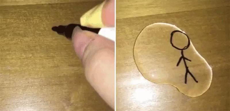 Pouring Water on a Magic Marker Stick Figure Magically Brings It to Life