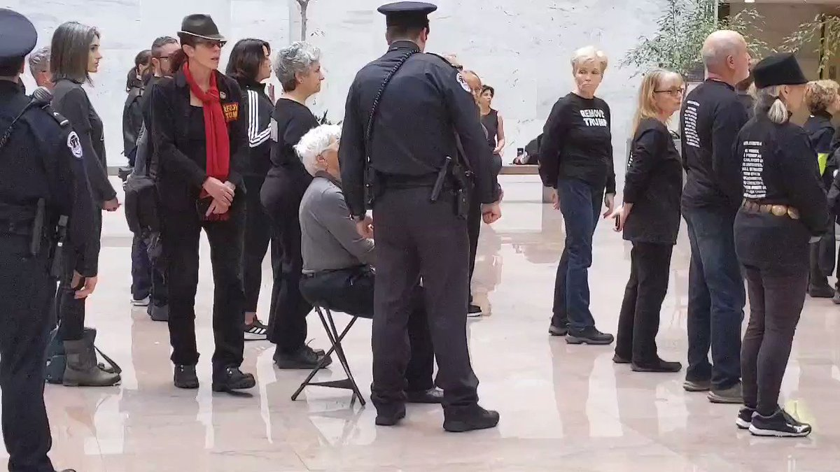 Barbara is 85 years old and she was protesting today in the Hart Senate building for the Remove Trump campaign. She uses a device to sit because she can barely stand, Capitol Police singled her out and threatened her arrest. Let's make this viral.
