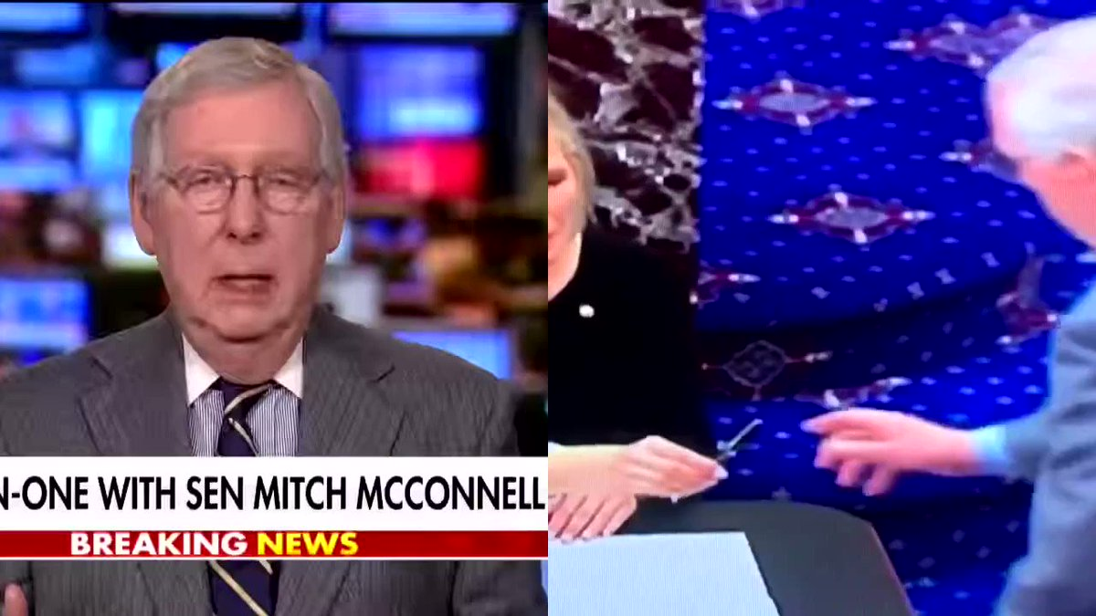 Left: McConnell admitting he won't be impartial Right: McConnell signing an oath to be impartial.