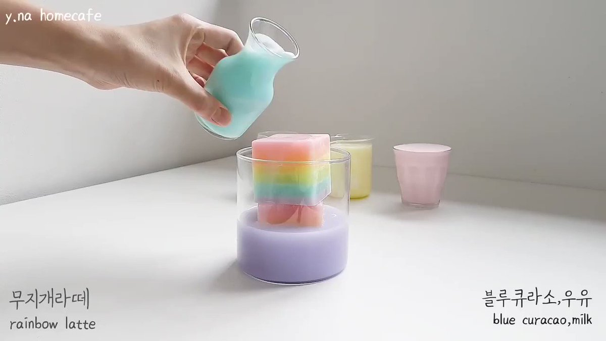 In home cafe videos, beautifully crafted colorful drinks are made which are comforting and therapeutic.🌈