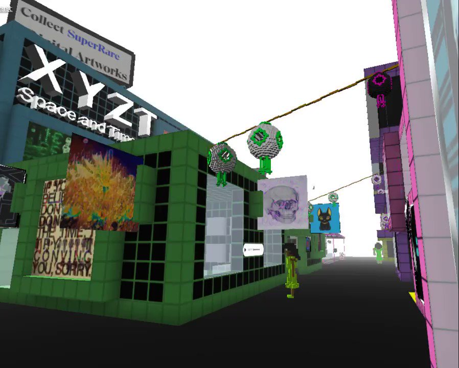 Gangnam streets, the XYZT gift shop by @conlan . @ https://www.cryptovoxels.com/parcels/2526