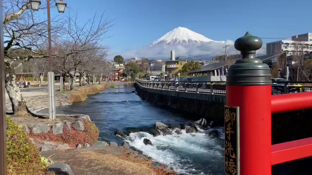 皆さん♬こんにちは😃今日は昨日までの曇りや雨の天気から回復して、快晴です☀️富士山はしっかり雪化粧☃️してとても綺麗な姿を見せてくれています(*☻-☻*)✨🌹富士宮市にある富士山本宮浅間大社⛩に来ました。すぐ隣を流れる「神田川」からの風景です😊🗻ヾ(๑╹◡╹)ノ