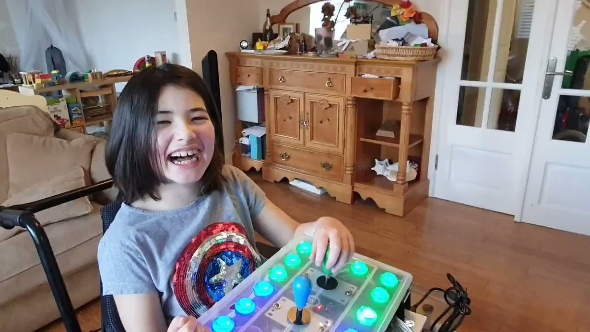 Finished! Ava gives my homemade #accessibility controller V1.0 the thumbs up. She can play @Nintendo #BreathoftheWild on her #switch like her friends now. All thanks to @Microsoft 🙌 #adaptiveController #XAC @brycej @ArranDyslexia @shanselman