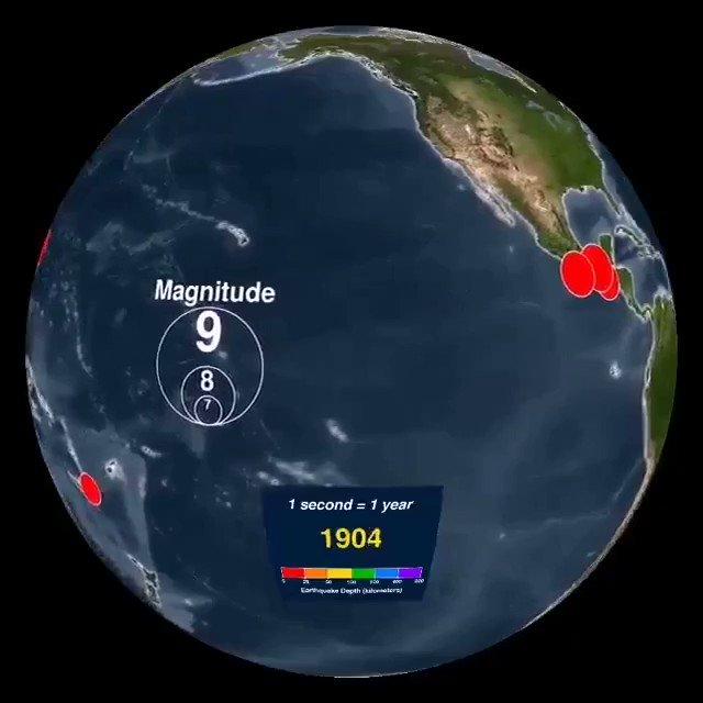Amazing #dataviz reproducing all the earthquakes from 1901 to 2000 via @NOAA_SOS Cc @evankirstel @ipfconline1 @HaroldSinnott @Paula_Piccard @sebbourguignon @labordeolivier @Ym78200 @kalydeoo @RichSimmondsZA
