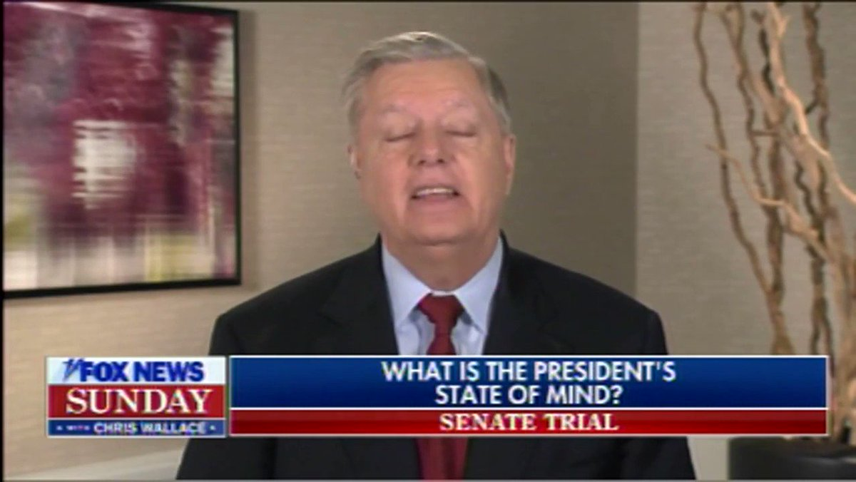 """Lindsey Graham claims unironically that Trump's biggest concern right now is with the sanctity of the office of the presidency.  """"The one thing he talks to me constantly about is, what does the next president do after this if this is successful?"""" Graham says."""