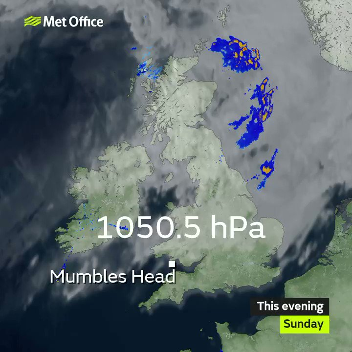 So far Mumbles Head in Wales appears to have recorded the highest pressure during this current settled spell, with 1050.5 hPa earlier this evening. This remains a little short of the 1050.9 hPa recorded at Benbecula 16.1.1957, and the UK record of 1053.6 hPa, Aberdeen 31.1.1902