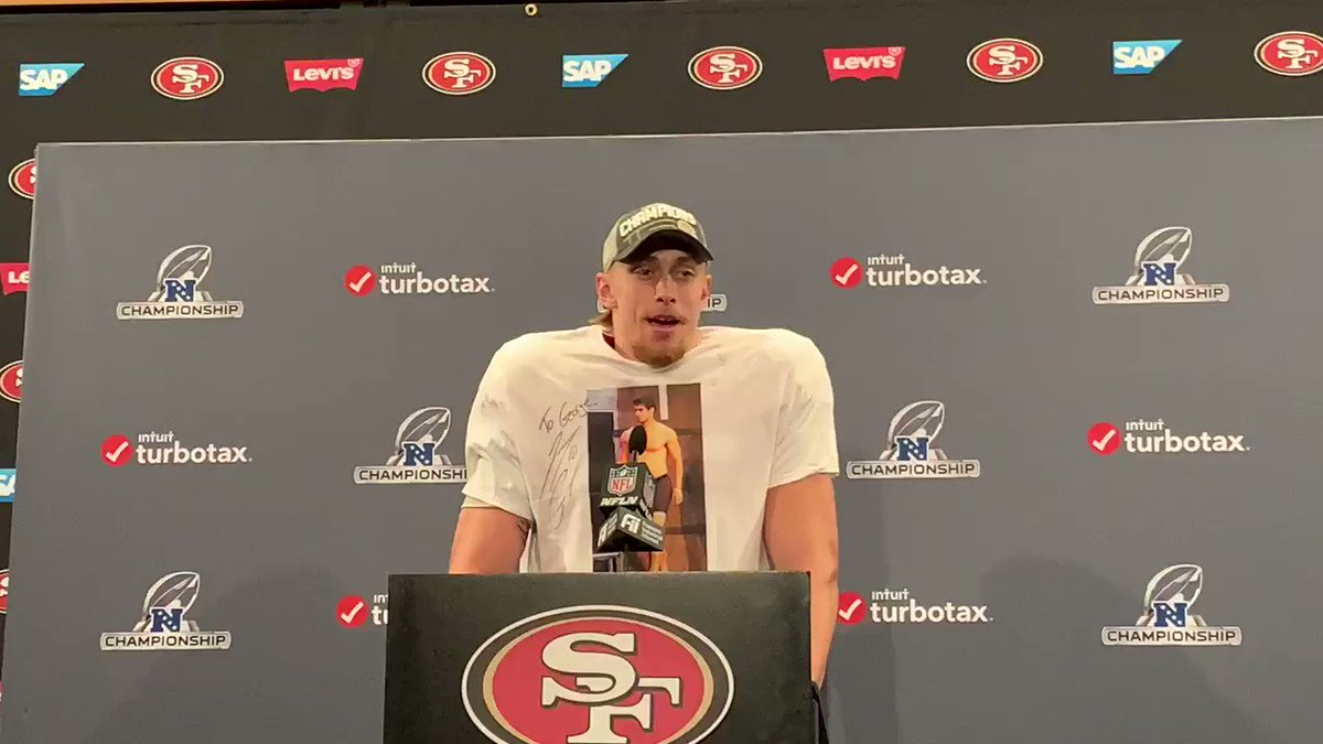 Packers vs. 49ers: George Kittle celebrates with topless Jimmy G shirt