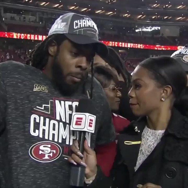 Richard Sherman and Mama Sherman with some inspirational words following the @49ers NFC Championship victory 🤣 (via @JosinaAnderson)
