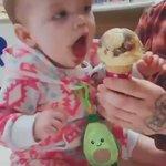 初めてアイスを口にし、あまりの美味しさにビックリする赤ちゃん!食いつきが半端ない!