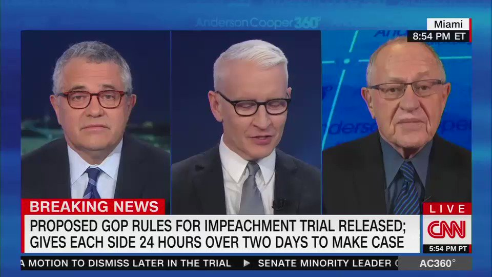 "Alan Dershowitz tries to explain his contradictory views on impeachment by saying he wasn't wrong during Clinton's impeachment, he's just ""much more correct right now"""