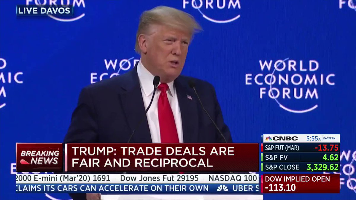 """""""The American Dream is back, bigger, better and stronger than ever before."""" -@realDonaldTrump#Davos2020"""