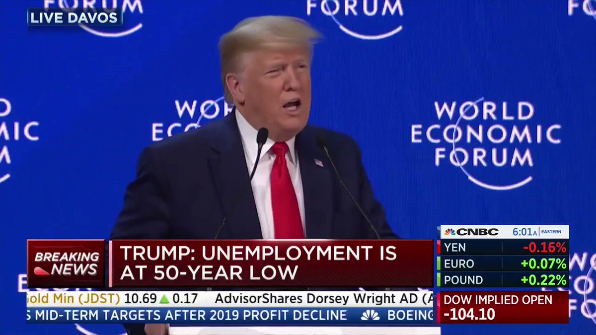 """""""Today, I hold up the American model as an example to the world of a working system of free enterprise that will produce the most benefits for the most people in the 21st century and beyond."""" -@realDonaldTrump #Davos2020"""