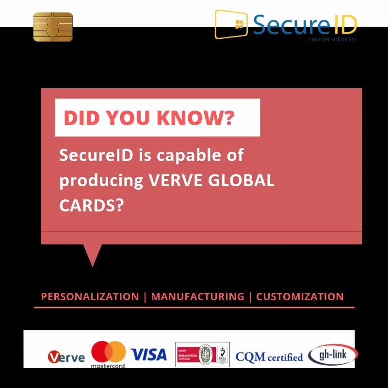 Do you know? SecureID is capable of producing verve global cards?  Let's get started NOW! Call us today on +234816754 8090, +234816754 8805 or send an email to info@secureidltd.com for your orders. #WednesdaySuperSale #WednesdayWisdom #Nigeria #Manufacturer #WednesdayMotivation