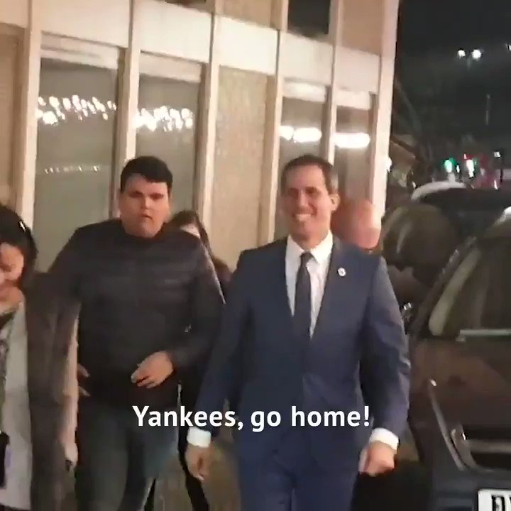 U.S. backed Juan Guaido who has defied his travel ban to meet with far-right leaders around the world, just cant seem to answer why he wants sanctions on the country he claims to be president of. Video and questions by @AhmedKaballo