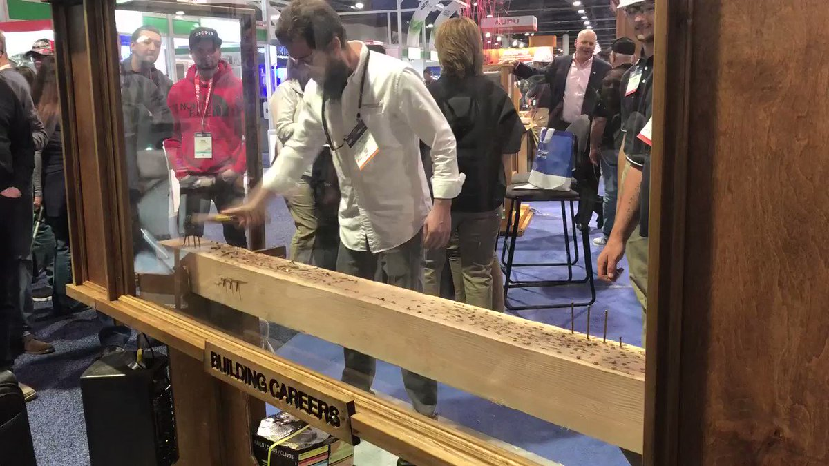 Can you drive nails faster than a construction intern from the Home Builders Institute? Find out in the South Hall at #IBS2020.
