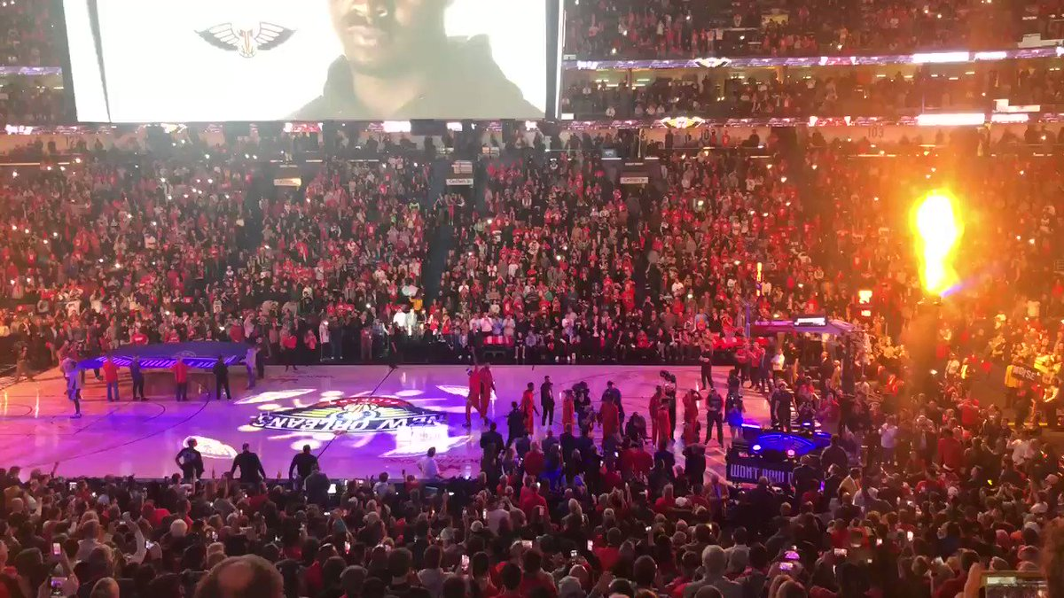 Zion Williamson gets a big cheer from the home crowd during player intros