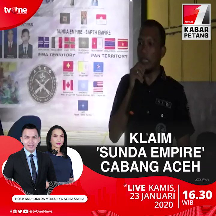 Klaim 'Sunda Empire' cabang Aceh. Saksikan Kabar Petang jam 16.30 WIB di tvOne & streaming tvOne connect, android http://bit.ly/2EMxVdm & ios http://apple.co/2CPK6U3 #KabarPetangtvOne