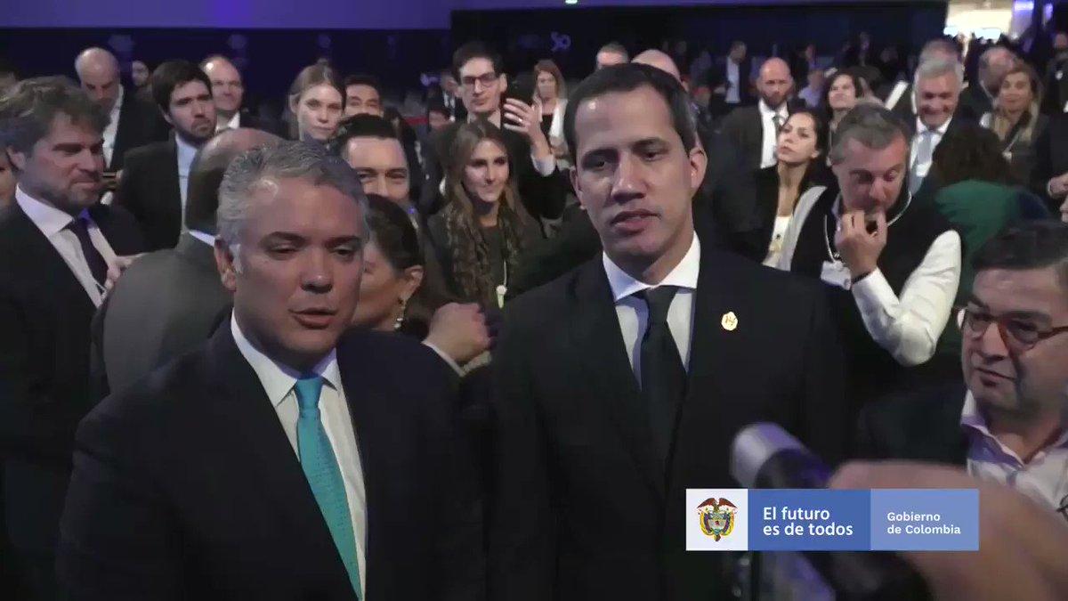 #Davos Escuchamos con atención el discurso del Presidente de Venezuela @jguaido en #WEF2020, quien hizo un llamado a la comunidad internacional para que haya más apoyo a los migrantes y la libertad de su nación. Los hermanos venezolanos saben que cuentan con el apoyo de Colombia.