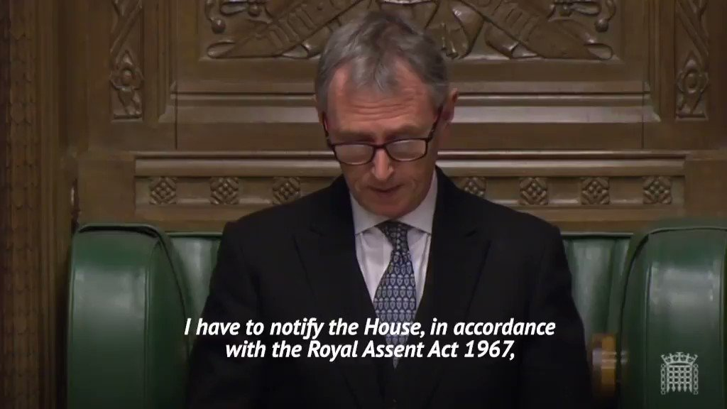 The Brexit Bill has been given Royal Assent.  Watch the moment Deputy Speaker Nigel Evans announced it in the Commons ⬇️