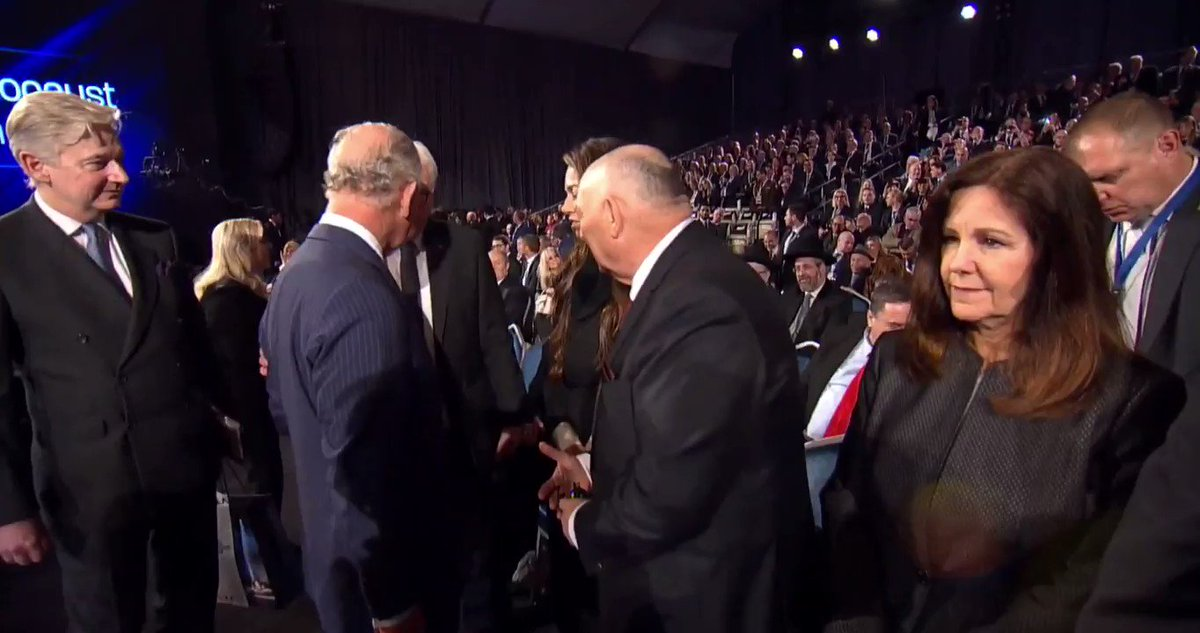 """Prince Charles appears to snub @VP Mike Pence at the #WorldHolocaustForum.   @VPPressSec contacted The Washington Examiner and told us  """"VP and Prince Charles spoke prior to entering the event floor and after his remarks as well."""""""