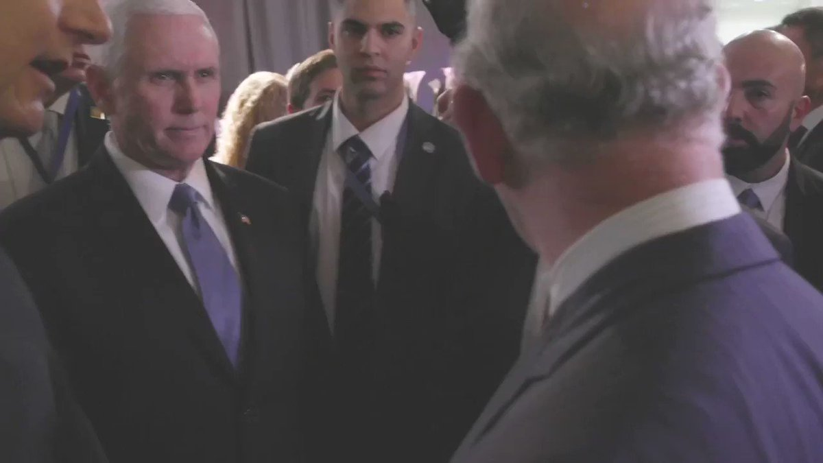 Video of @Mike_Pence and Prince Charles backstage in Jerusalem.