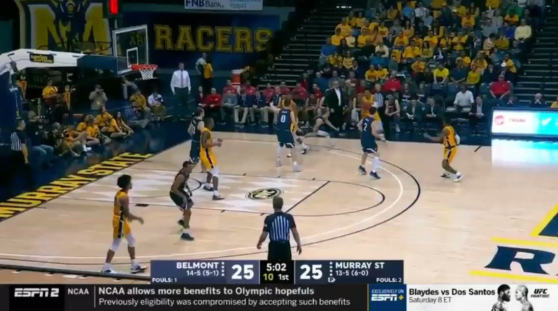 Tevin Brown gives his team the lead from a different zip code 👀🎯  #WeAreRacers🏇🏀