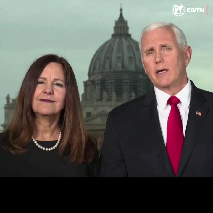"""""""To all the proud Catholics who I know are filling our National Mall today...we want to thank you for your witness."""" -- @VP  @Mike_Pence  and @SecondLady  Karen Pence address the #MarchforLife . #WhyWeMarch"""