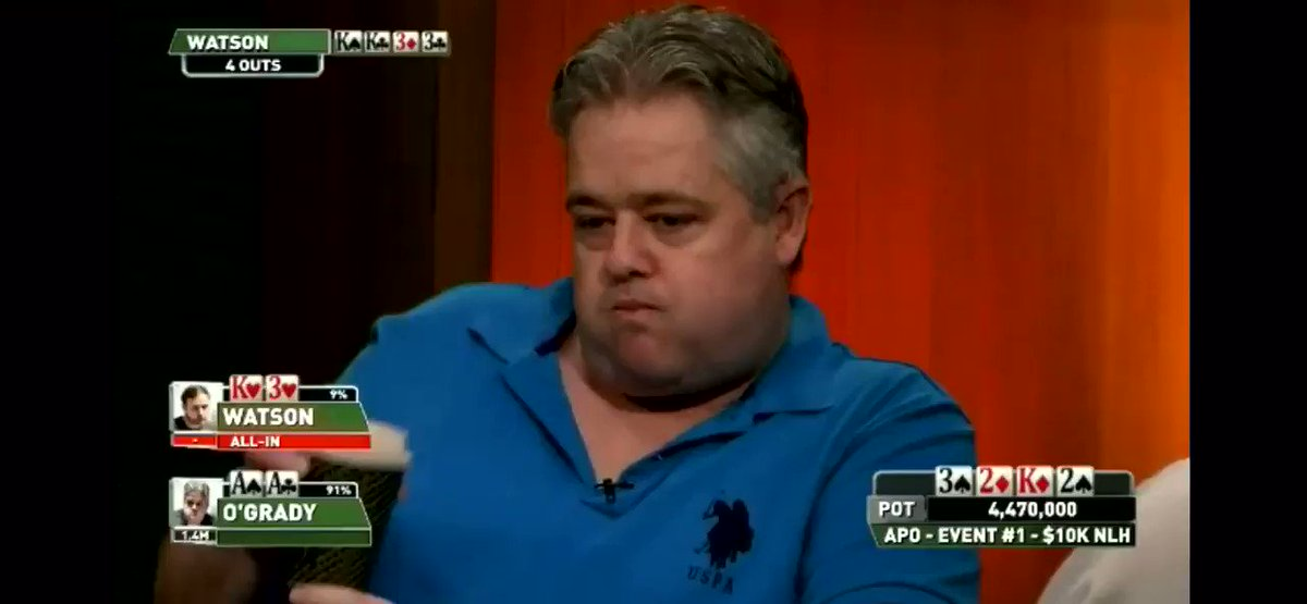 Any ideas on how O'Grady didn't spit that coffee out? #poker #apo #badbeat #pokergo