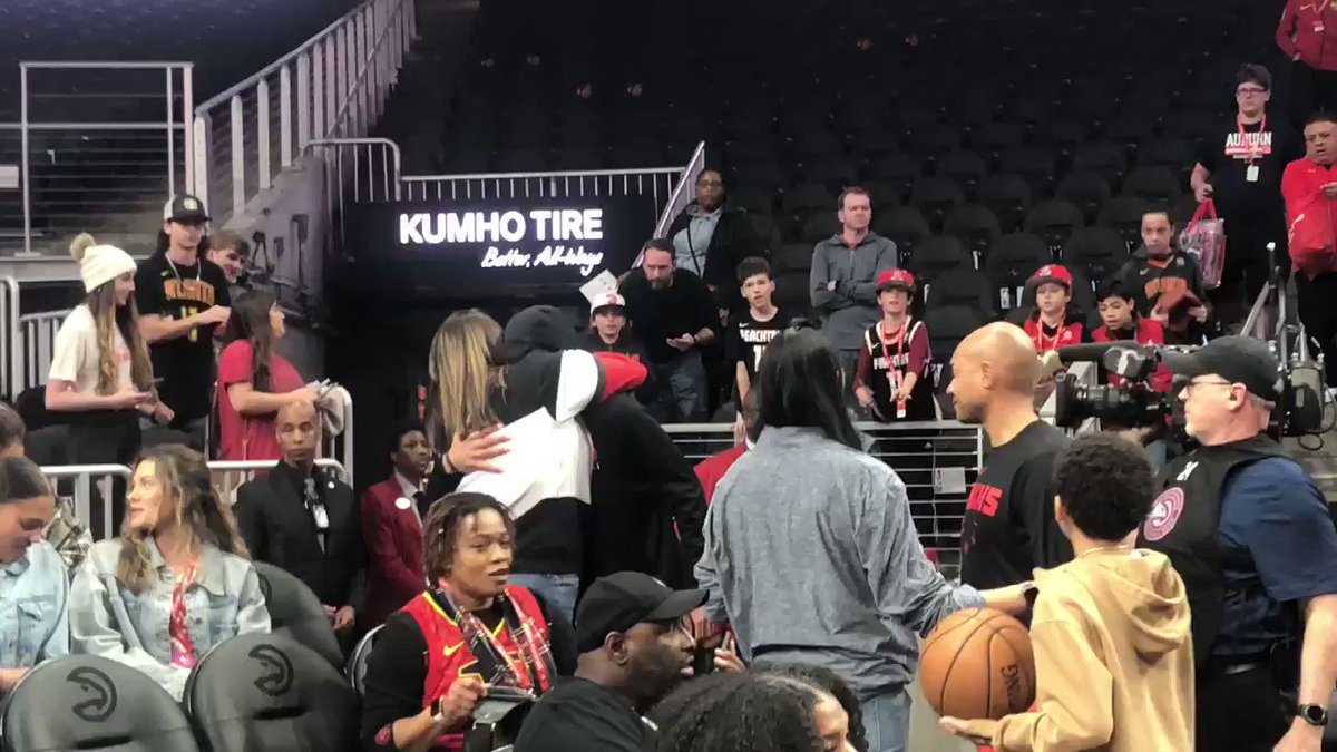 Trae Young went over to his mother after pregame warmups.   Trae worked out with Kobe leading up to this season.