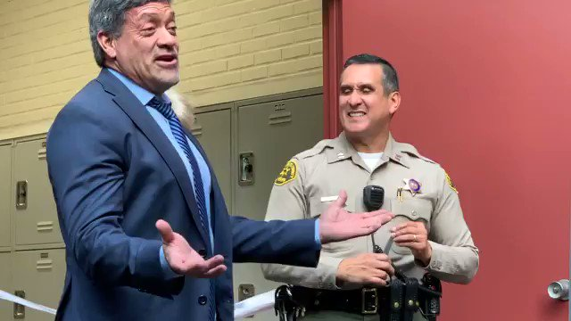 some comments from @JohnDuran about how he's been won over by @WHDLASD after 20 years ago wanting to boot them out of town (at ribbon cutting for new equipment lockers as weho sheriff's station)