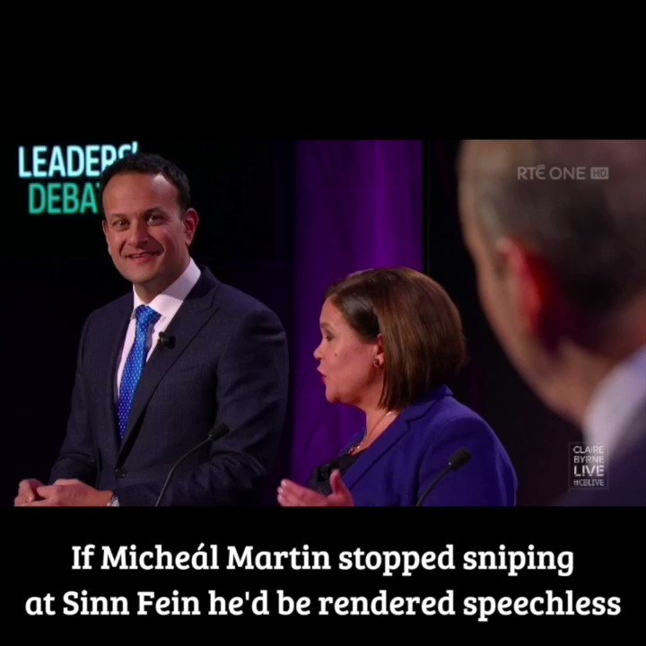 Mary Lou putting manners on posh boys. This is why the RTÉ board doesnt want her on; shed make shite of them both #ClaireByrneLive #GE2020 #leadersdebate #cblive