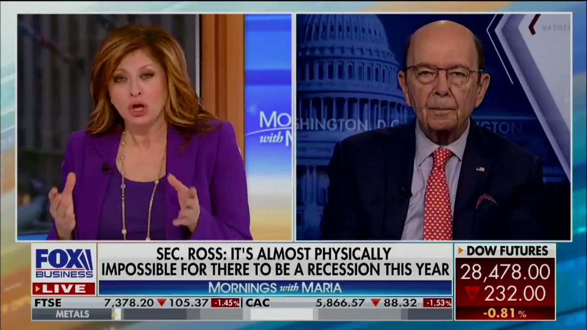 Wilbur Ross's prediction about the coronavirus helping the US economy could not have been more wrong