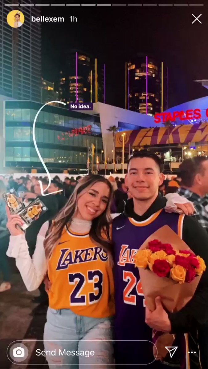My HS Friend surprised her husband with tickets to last night Laker Game and this was his reaction  #RIPMamba #RIPGianna #LakerNation #lakersgame  @bbelle_mpic.twitter.com/I9vqMj0Hxq