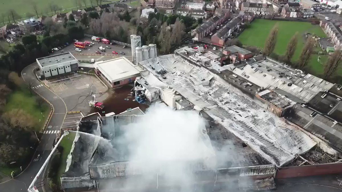Firefighters are still at the scene of a huge industrial blaze that broke out at a bakery in #Wakefield yesterday. At its height 140 firefighters and 20 appliances were in attendance as smoke covered much of the city centre. #fire #drone #djimavicpro