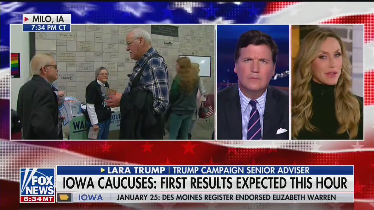 No matter who wins tonight on the democrat side, we know that America feels the incredible results of the President's policies and wants #FourMoreYears of @realDonaldTrump 🇺🇸 #IowaCaucuses @TuckerCarlson